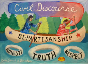 This beautiful banner was created by ARRT! (Artists' Rapid Response Team) for MCC to use in our efforts this year to promote civil discourse.
